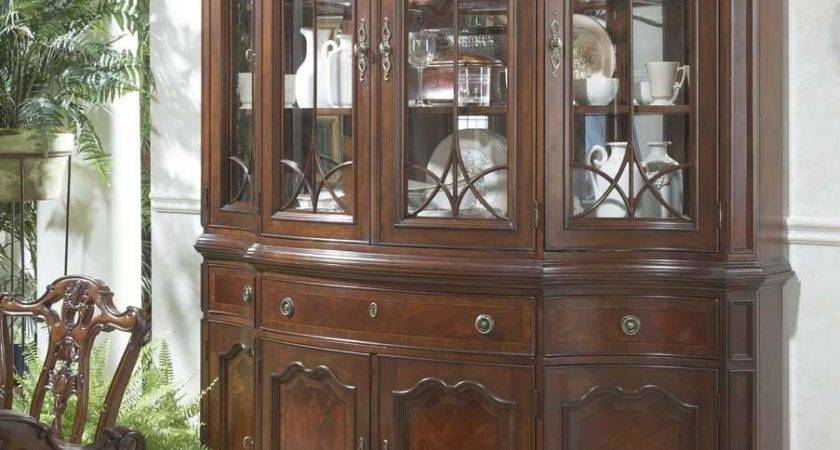 Traditional China Buffet Hutch Glass Doors