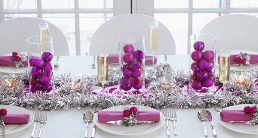Traditional Christmas Table Settings Purple Silver