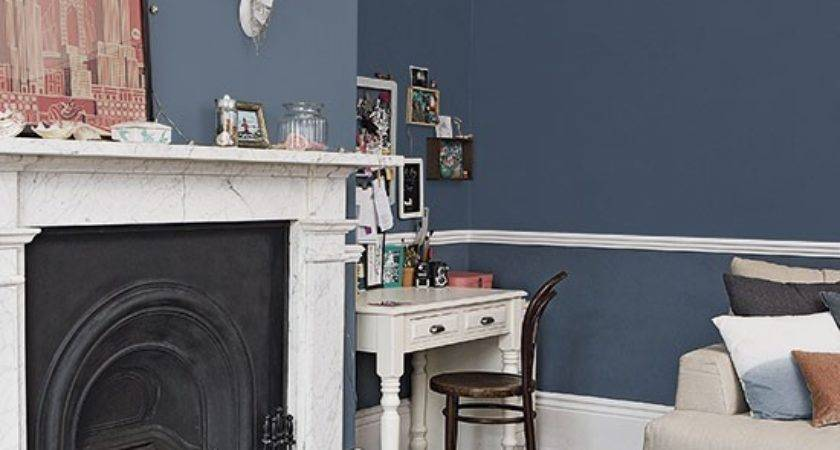 Traditional Dark Blue Living Room Decorating