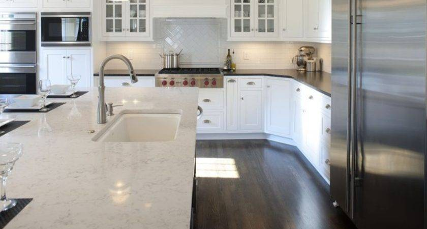 Transitional White Kitchen Black Island