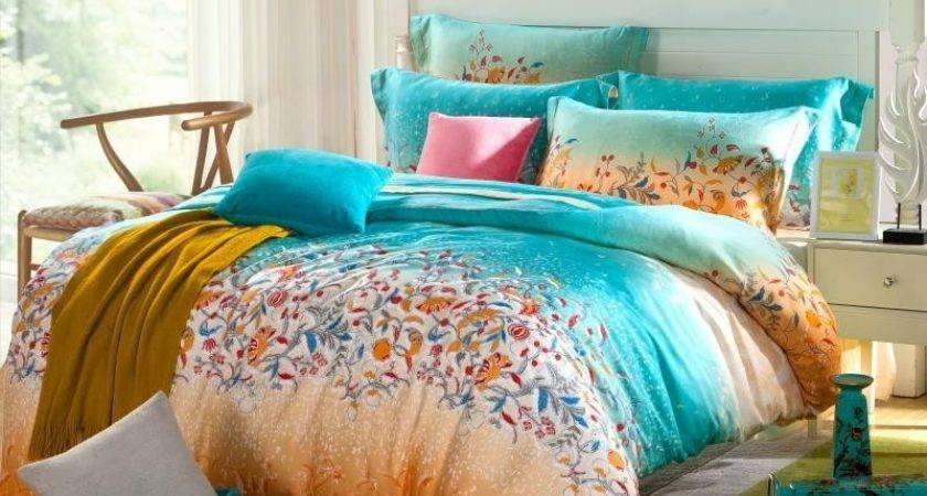 Tribal Print Bedding Teal Blue Orange Floral