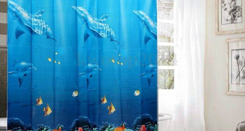 Tropical Beach Dolphin Sea Fish Shower Curtain Blue Ocean