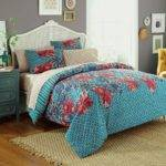 Turquoise Gold Bedding Blue Red Floral