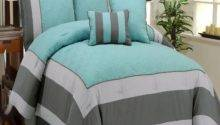 Turquoise Gray Bedding Aqua Blue Smoke Quilted