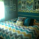Turquoise Gray Bedding Bedroom Using Yellow