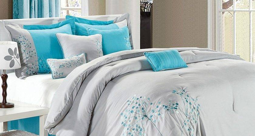 Turquoise Gray Bedding Floral