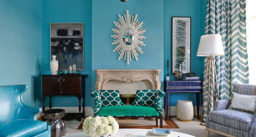 Turquoise Living Room Eclectic Massucco