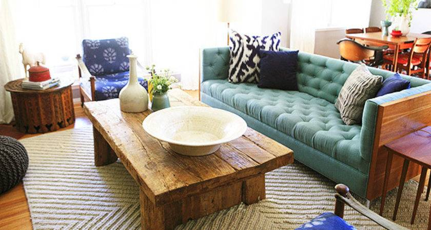 Turquoise Tufted Sofa Eclectic Living Room Emily