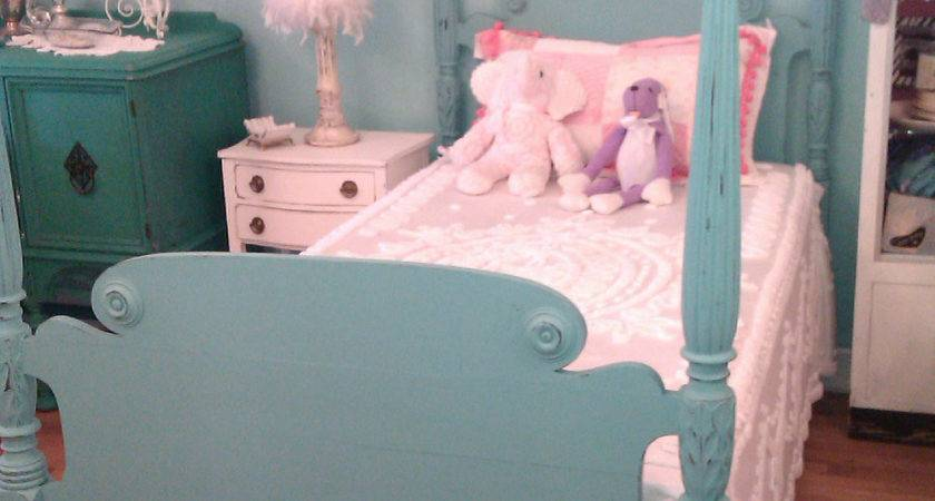 Twin Bed Frame Shabby Antique Chic Aqua