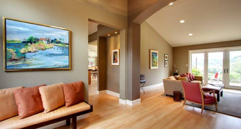 Two Tone Paint Color Living Room Traditional Dark