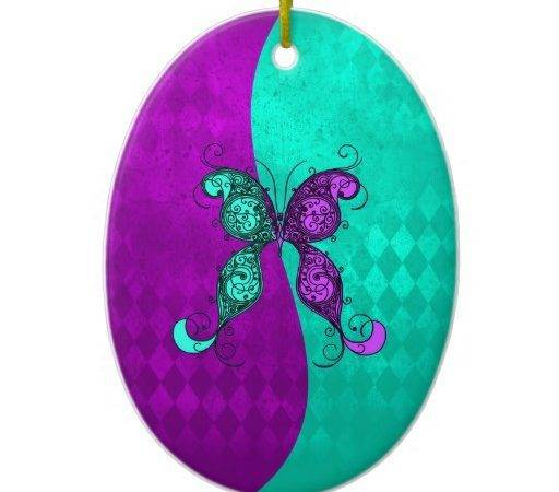 Two Tone Purple Turquoise Teal Butterfly Christmas
