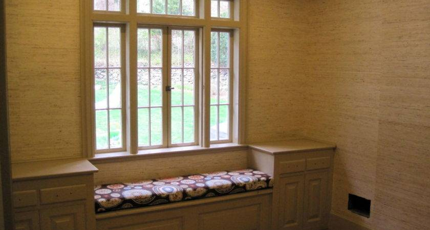Upholstered Fabric Window Seat Gray Painted Wood