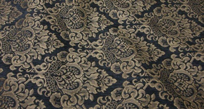 Upholstery Charcoal Cleopatra Chenille Gold Damask Print
