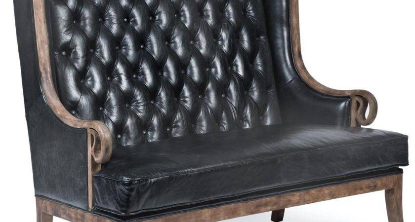 Vince Modern Classic High Back Tufted Black Leather Wood