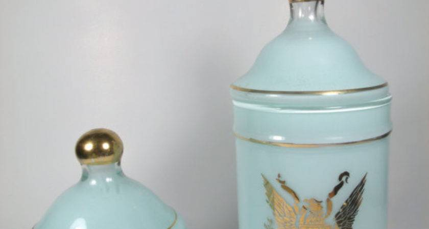 Vintage Apothecary Jars Vanity Set Bathroom Decor Fleur