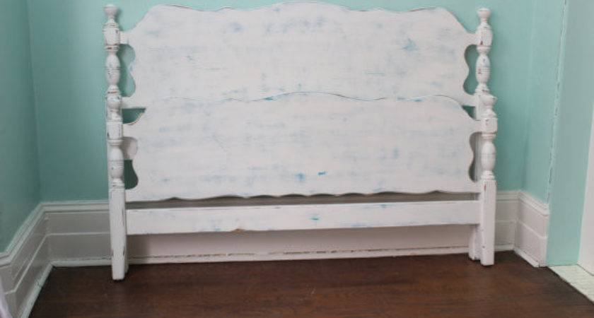 Vintage Bed Frame Shabby Chic White Turquoise Blue
