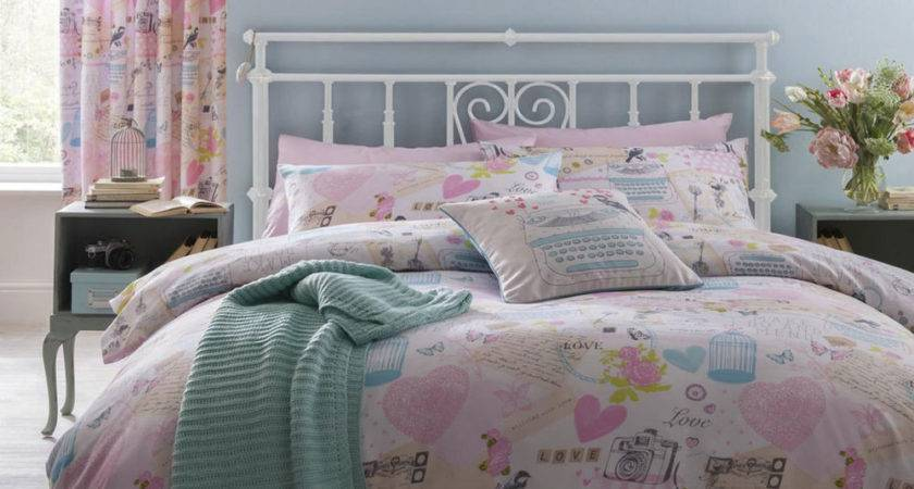 Vintage Collage Shabby Chic Hearts Birds Duvet Quilt Cover