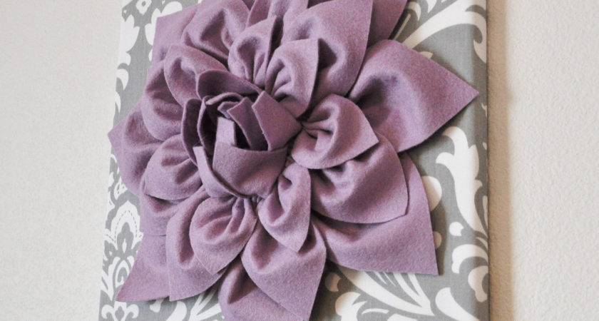 Wall Art Lilac Purple Dahlia Gray White Damask