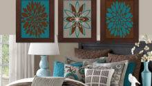 Wall Art Teal Brown Dahlia Flower Bloom Lovelyfacedesigns