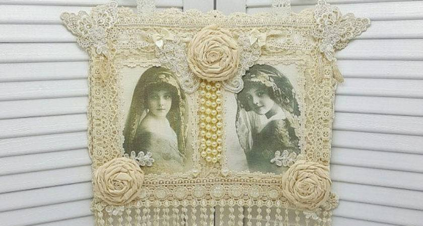Wall Hanging Feminine Art Shabby Chic
