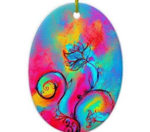 Whimsical Flowers Pink Yellow Purple Teal Blue Christmas