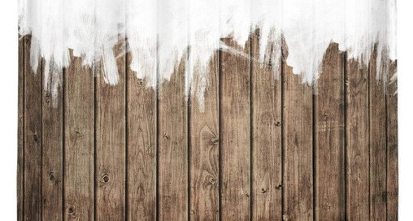 White Abstract Paint Brown Rustic Striped Wood Shower
