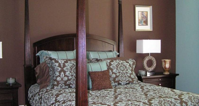 White Bedroom Decorating Brown Blue Walls