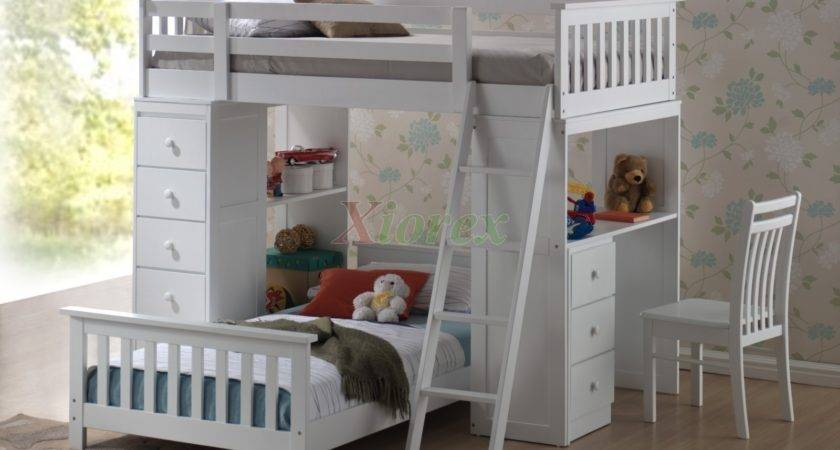 White Bunk Beds Kids Stairs Slide