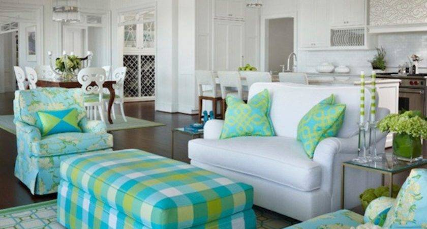 White Living Room Green Accents Design Ideas