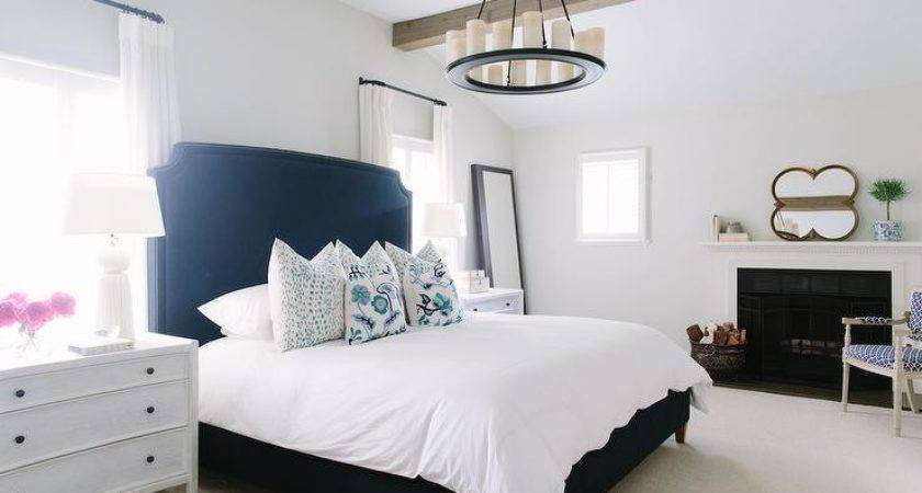 White Navy Bedroom Fireplace Contemporary