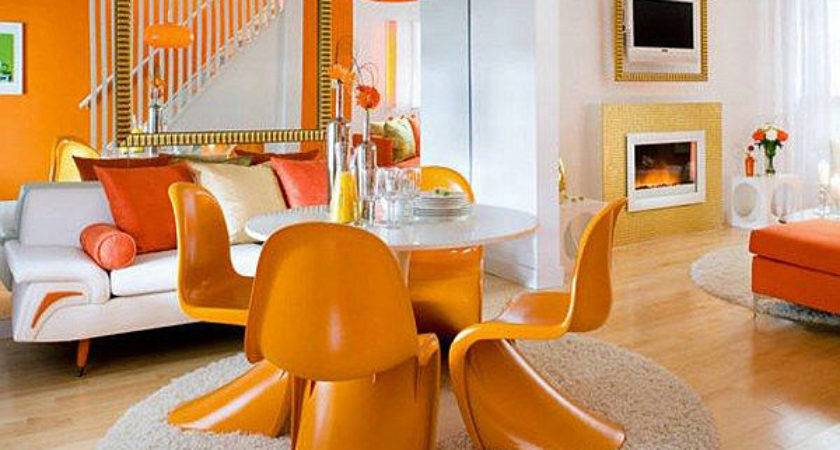 White Orange Living Dining Room Decoist