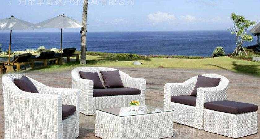 White Rattan Sofa Stylish Outdoor Furniture