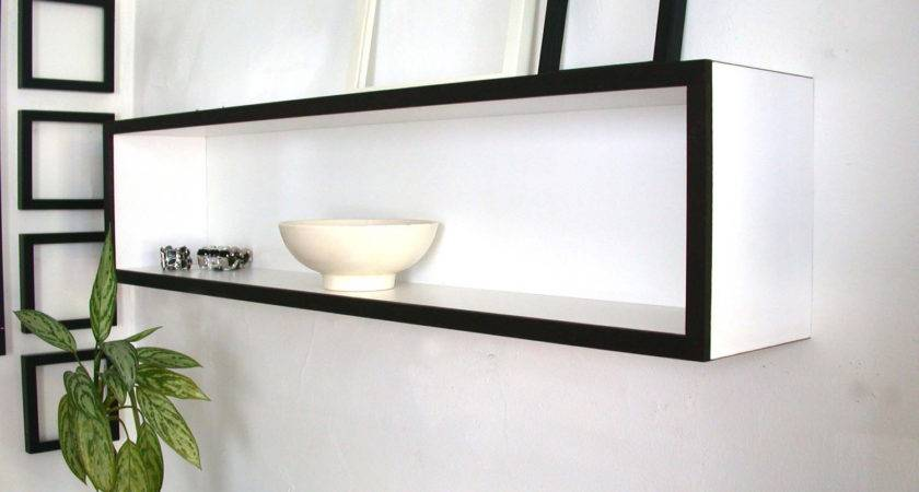 White Wooden Floating Wall Shelves Hanging
