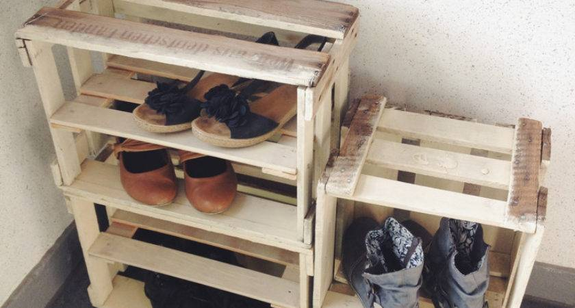 Wine Crate Shoe Storage Diy Wood