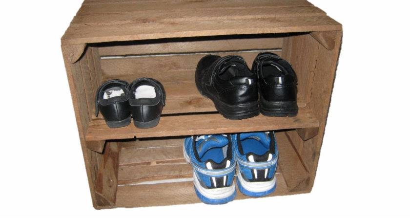 Wine Crate Shoe Storage Two Tiered Wood