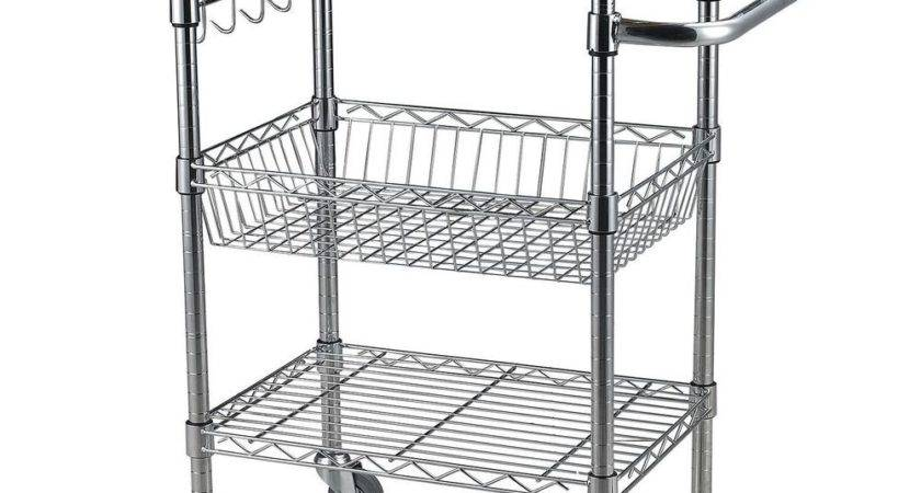 Wire Rolling Wheel Kitchen Cart Microwave Stand Storage