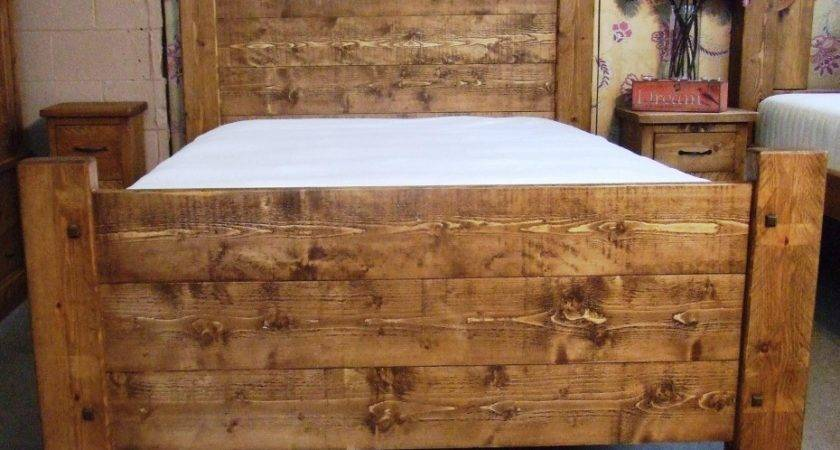 Wonderful Large Wooden Unfinished Rustic Bed