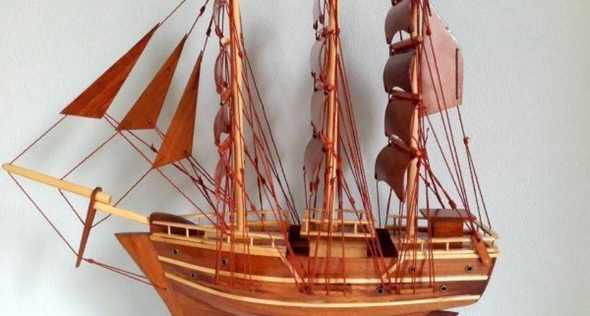 Wood Art Model Ship Handmade Sail Boat Desk