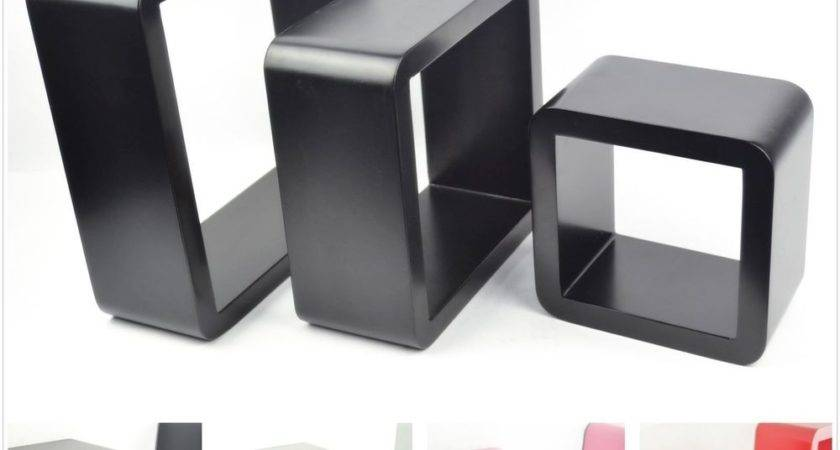 Wooden Floating Wall Cube Display Storage Shelf Round