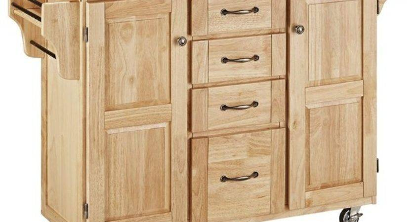 Wooden Kitchen Cart Natural Finish Contemporary
