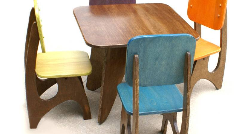 Wooden Table Colorful Chairs Toddler Decofurnish