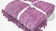 Woven Chenille Lilac Luxury Throw Bedding