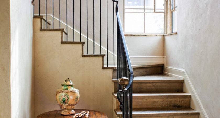 Wrought Iron Railing Staircase Rustic Baseboards