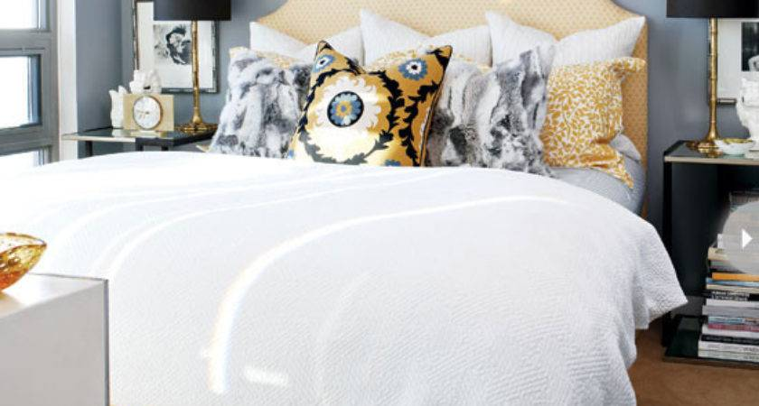 Yellow Gray Bedroom Contemporary Style