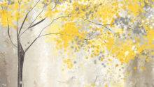 Yellow Gray Tree Painting Lourry Legarde