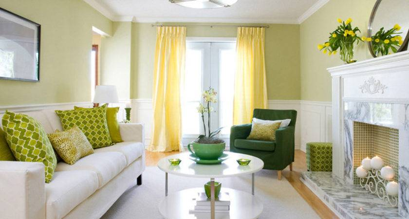 Yellow Green Living Room Contemporary