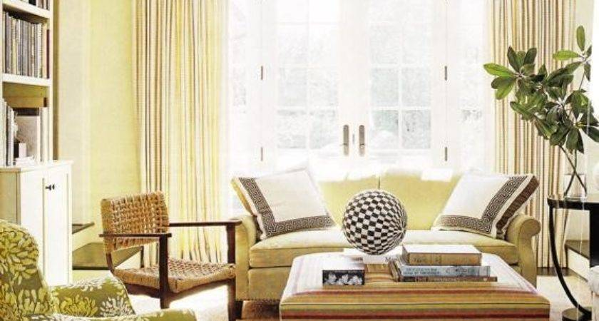 Yellow Green Paint Color Contemporary Living Room
