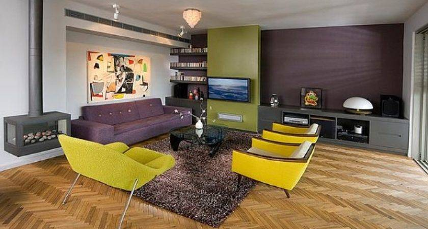 Yellow Green Purple Modern Living Room Fireplace