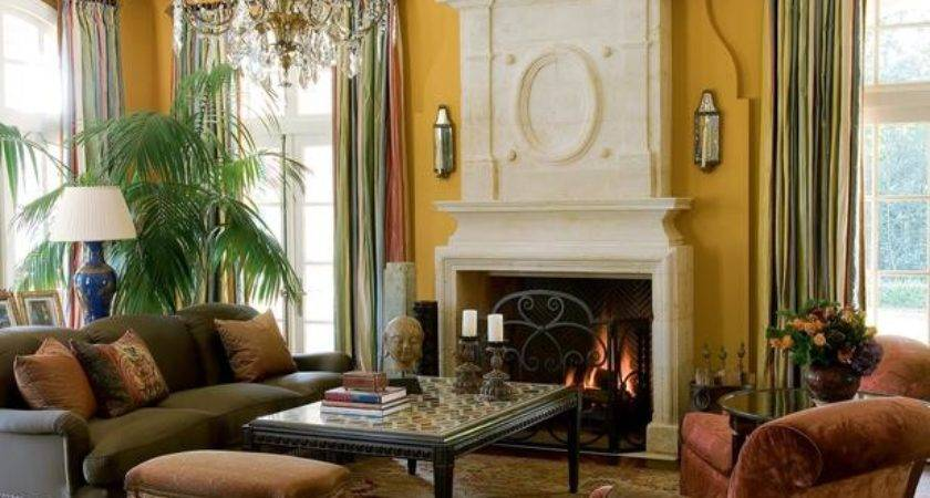 Yellow Living Room Limestone Mantel Chandelier