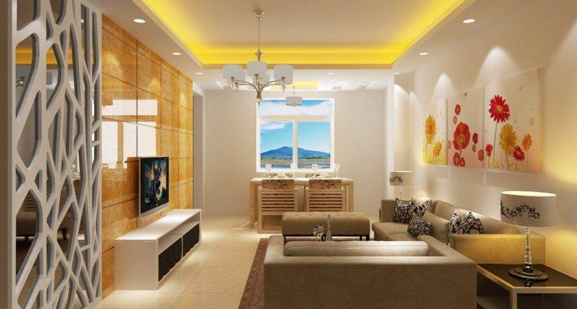 Yellow Modern Minimalist Living Dining Room Interior